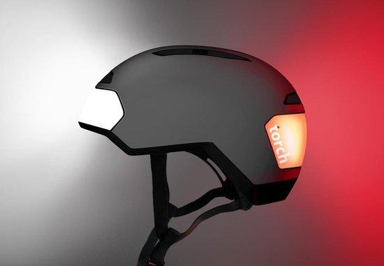 Torch T2 Black - fietshelm met ingebouwde voor- en achter verlichting