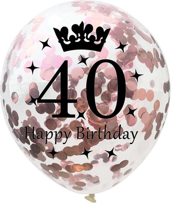 Confetti ballon | verjaardag | set van 5 | metallic rose | happy birthday 40