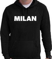 Milan wereldstad Milaan  hoodie zwart heren - zwarte Milan sweater/trui met capuchon M