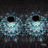 Gadgy Solar Tafellamp Glas - 2 stuks - Blauw - Solar tuinverlichting op zonneenergie – Led buitenverlichting met dag/nacht sensor – Tafellamp / Hanglamp / Tuinlantaarn -  Ø15 cm