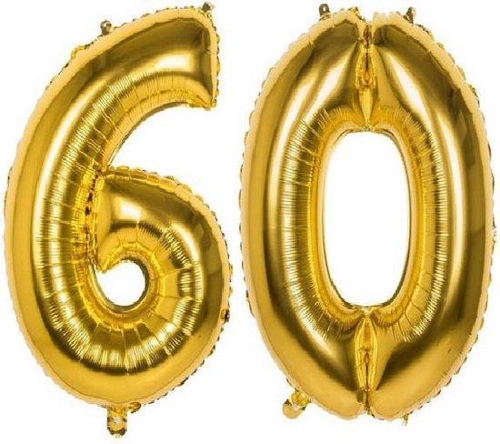 60 Jaar Folie Ballonnen Goud - Happy Birthday - Foil Balloon - Versiering - Verjaardag - Man / Vrouw - Feest - Inclusief Opblaas Stokje & Clip - XL - 82 cm