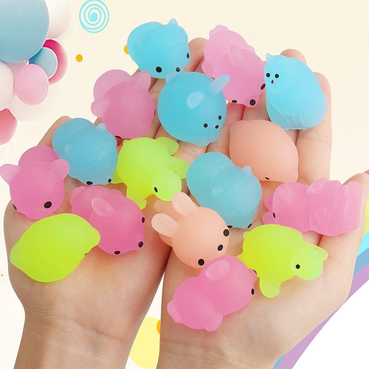 Mochi Squishy - 10x stuks - Squeeze  - Fidget Toy - Pop It - Simple Dimple - Lichtgevend - Soft anim
