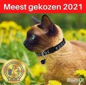 Reflecterende kattenhalsband | zwart | Glow in the dark | Pootjes motief | Veiligheidssluiting | halsband kat | met belletje | veilig in het donker | Voorkom ongelukken | katten halsband | houdt uw kat veilig | Fluorescerend |