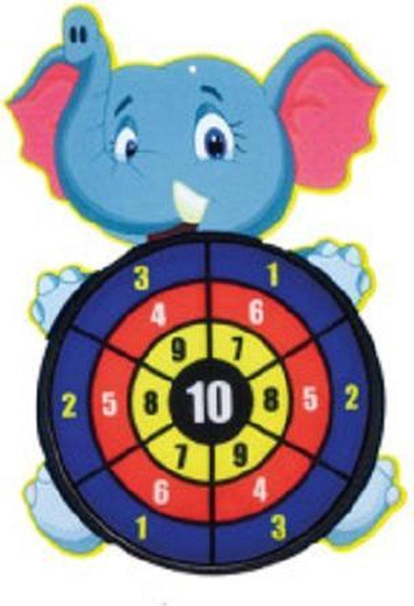 Toi-Toys - Dartbord klittenband - Olifant - incl. 3 ballen 28x44cm