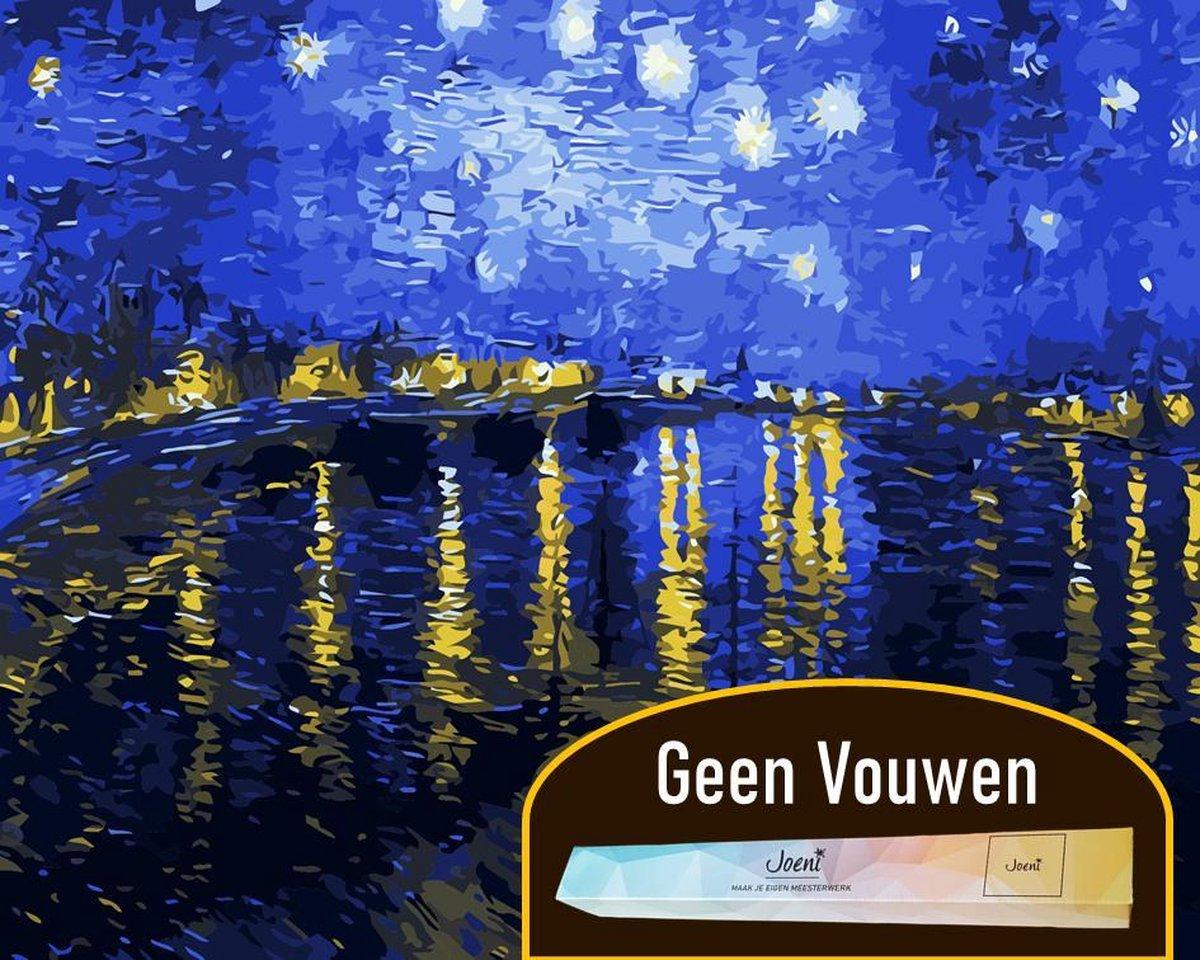 Joeni® Schilderen Op Nummer - 40x50 cm - Abstracte Kunst: Sterrennacht (Van Gogh) - Volwassenen - Geschenkverpakking