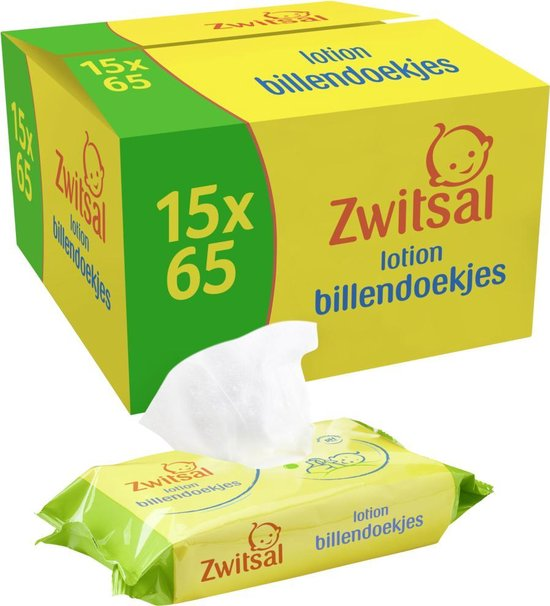 Zwitsal Lotion Billendoekjes - 15 x 65 billendoekjes - Voordeelverpakking