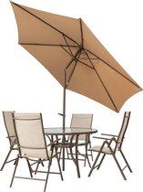 MaxxGarden Tuinset - Dining set met parasol - 6 delig Glas