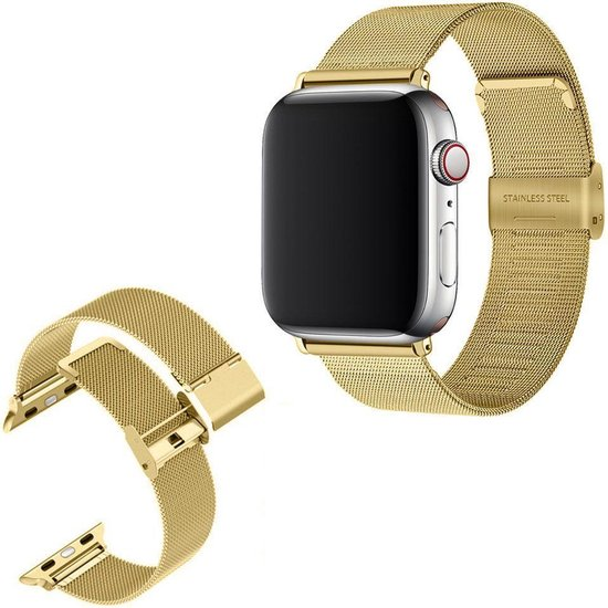 Luxe Milanese Loop Armband Voor Apple Watch Series 1/2/3/4/5/6/SE 42/44 mm Horloge Bandje - Metalen iWatch Milanees Watchband Polsband - Stainless Steel Mesh Watch Band - Horlogeband - Veilige Vergrendelbare Sluiting - Goud Kleurig