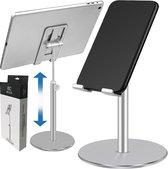 BECIO Tablet Houder en Telefoon Houder – Universele Tablethouder Telefoonhouder – iPad Standaard – Verstelbare Smartphone Statief voor Bureau of Tafel – Aluminium  – Zilver