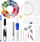 Happy Goods® Punch Needle pakket - Borduurring met borduurnaalden en borduurgaren - 50 kleuren starterset – creatief hobby borduurpakketten voor volwassenen