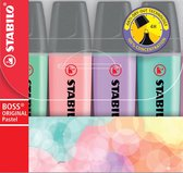 STABILO BOSS ORIGINAL Pastel - Markeerstift - Markeren Met Pastelkleuren - Etui Met 4 Kleuren