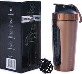 Fit Evolve RVS Shakebeker - Proteine Shaker - BPA vrij - 700ml - Rose Goud