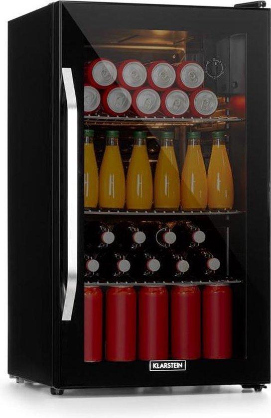 Koelkast: Klarstein Beersafe XXL Onyx koelkast LED 3 metalen rekken , 5 koelniveaus voor temperaturen van 5 tot 10 °C , glazen deur, van het merk Klarstein