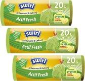 Swirl Actif Fresh pedaalemmerzakken met trekband 20L Multipack 3 rollen van 12 stuks