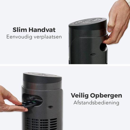 LifeGoods Luxe Torenventilator - 55W - 118 cm - Staande Oscillerende Kolomventilator - Timer - Afstandsbediening - Stil 45dB - Donkergrijs