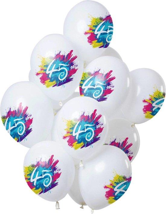 Ballonnen 45 Jaar Feest 30cm 12st