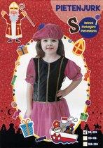Pietenjurk met Pietenmuts - Kind – Meisjes - maat 110-116 – Roze / Zwart