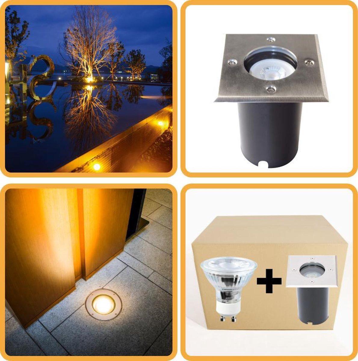 Proventa HeavyDuty LED Grondspot IP67 - Vierkant - inbouw tuinspot buiten - warm wit