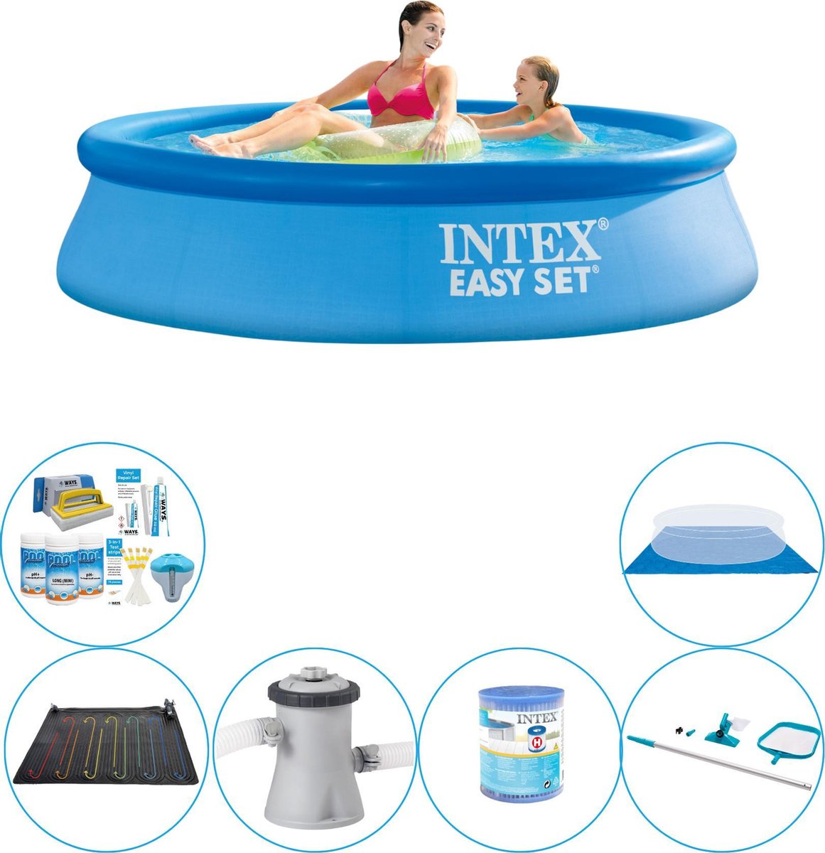 Zwembad Set - 7-delig - Intex Easy Set Rond 244x61 cm