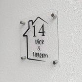 Naambord - incl. afstandhouders - zwart of transparant - 19,5 x 19,5 cm - plexiglas- voordeur
