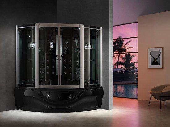 Mawialux stoomcabine inclusief massagebad | Glans zwart | STMBZ800