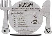 VUT/pensioen - Recept voor een goed pensioen - houten wenskaart - geniet van je pensioen - groot