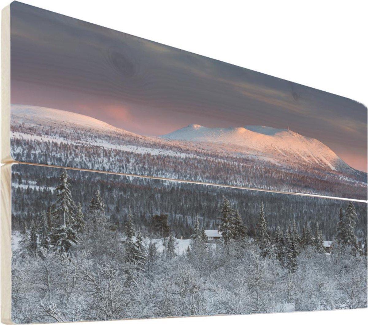 Bergen op hout - 30x20 - Winters berglandschap Hout - foto/schilderij op hout