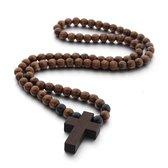 Sorprese donkerbruine 100% houten - ketting - kralenketting – houten kruis – 65 cm &ndas