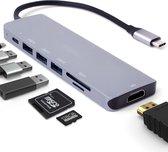 Iqonic® USB C Hub 7 in 1 - 3 x USB 3.0 - 4K HDMI - USB C Oplader - Micro SD / TF Kaartlezer - Space Grijs