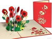 Popcards popupkaarten – Verjaardagskaart Bloemen Rozen Klaprozen Papaver Vriendschap Felicitatie Beterschap Troost pop-up kaart 3D wenskaart