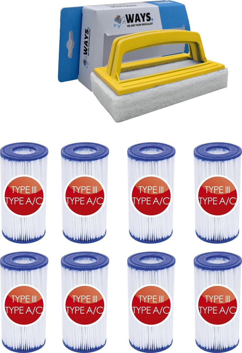 Bestway - Type III filters geschikt voor filterpomp 58389 - 8 stuks & WAYS scrubborstel