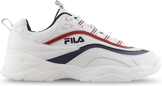 Fila Ray Low Sneakers Heren - White/Fila Navy/Fila Red  - Maat 43