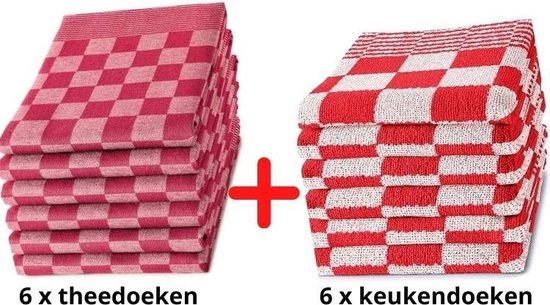 Theedoeken en Keukendoeken Set - 6 Stuks Theedoeken + 6 Stuks Keukendoeken - 100% KATOEN - Rood Wit - Horecakwaliteit - Sneldrogend - Geblokt - Droomtextiel