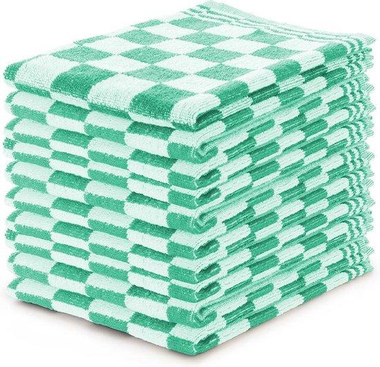 Keukendoekset Blok Licht Groen - 50x50 - Set van 10 - Geblokt - Blokdoeken - 100% katoen - Horeca Keukendoeken