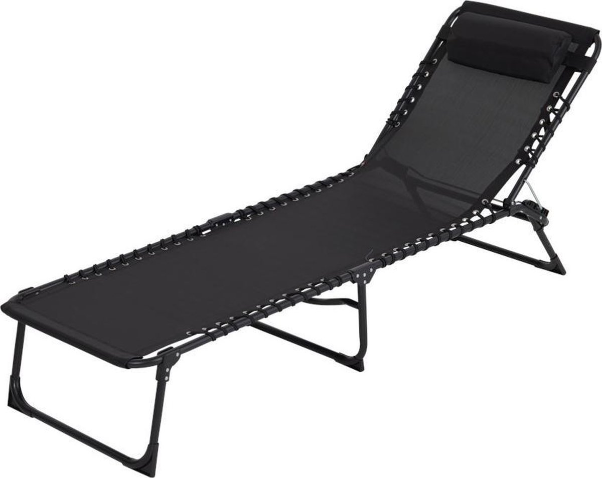 Tuinstoel Strandstoel Ligbed inklapbaar   Stretcher Vouwbed Zwart