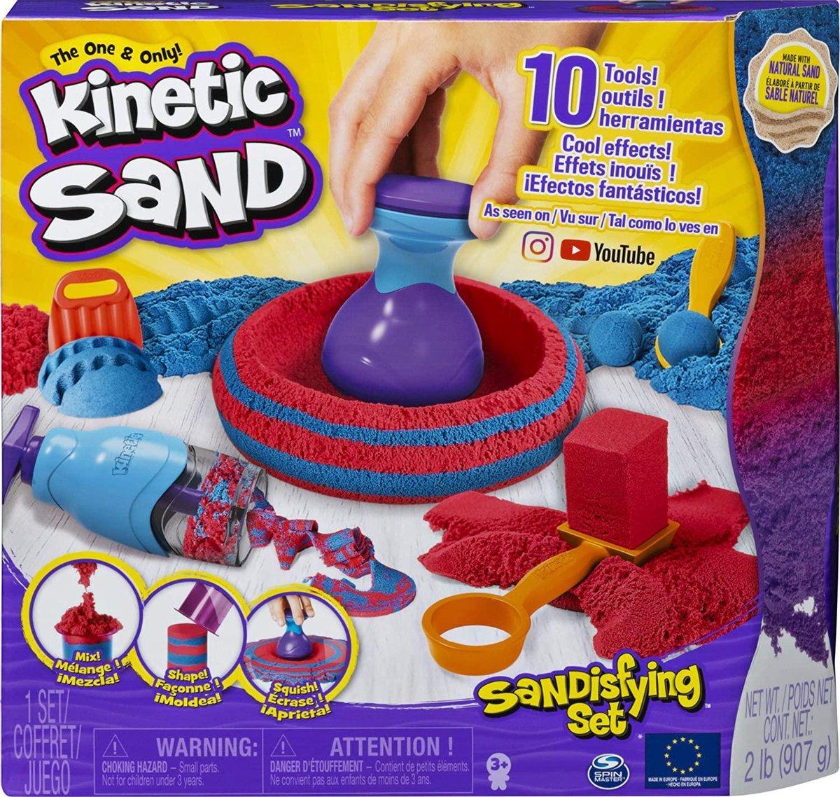 Kinetic Sand Sandisfying Set met 10 gereedschappen voor creatief zandspel binnenshuis