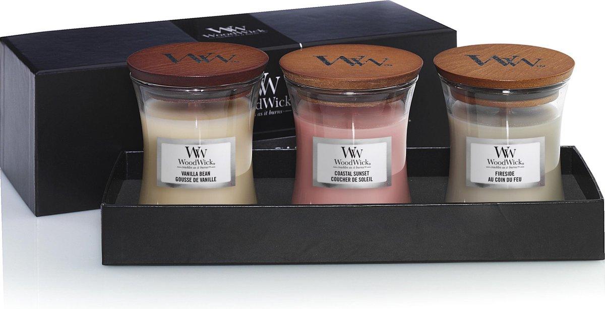 Woodwick Hourglass Mini Geurkaarsen Geschenkset - Diverse Geuren - 3 Stuks Giftset