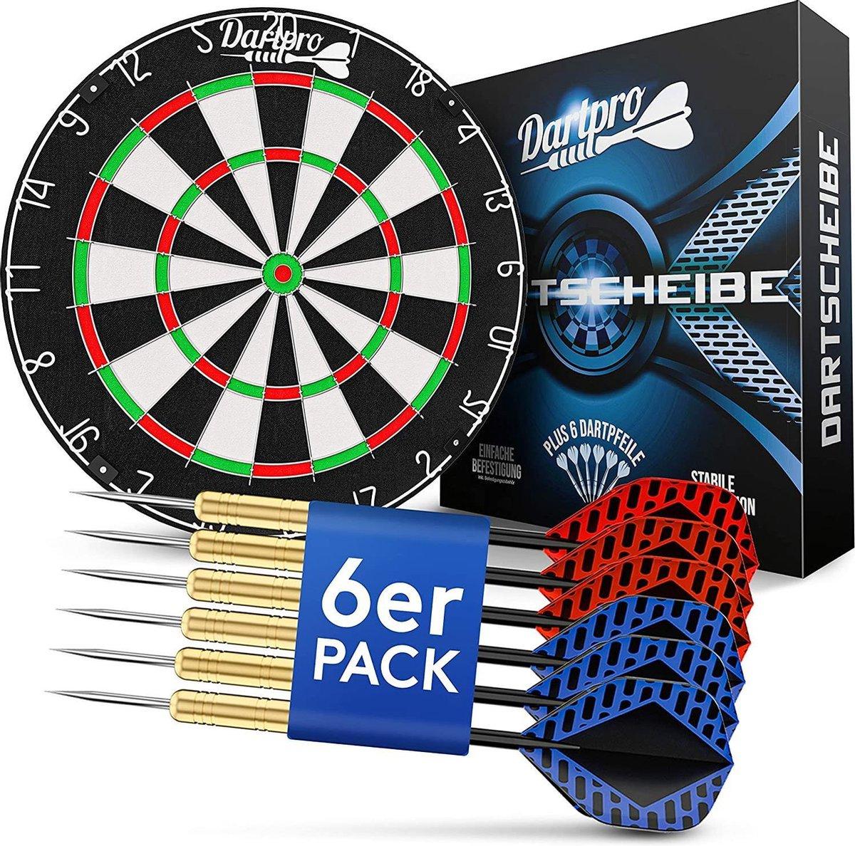 Dartbord met darts, professioneel stalen dartbord van zelfherstellend sisal, dartbord met extra dunne draden, dartbord met 6 darts