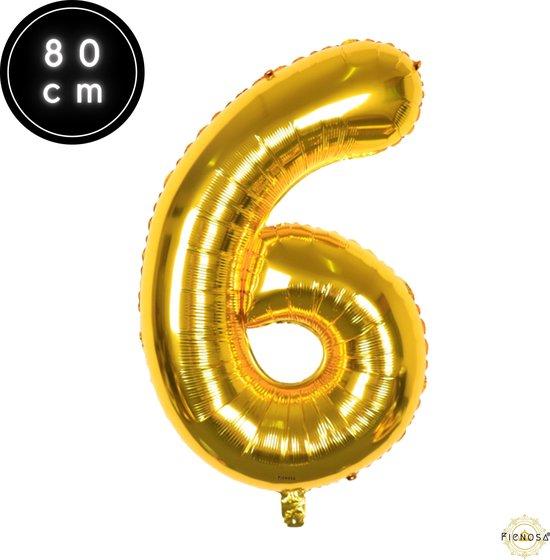 Cijfer Ballonnen - Cijfer Ballon Goud - Cijfer 6 Ballon - 82 cm Hoog - Ballonnen Verjaardag - Feestversiering - 16 Jaar -  60 jaar  - Fienosa