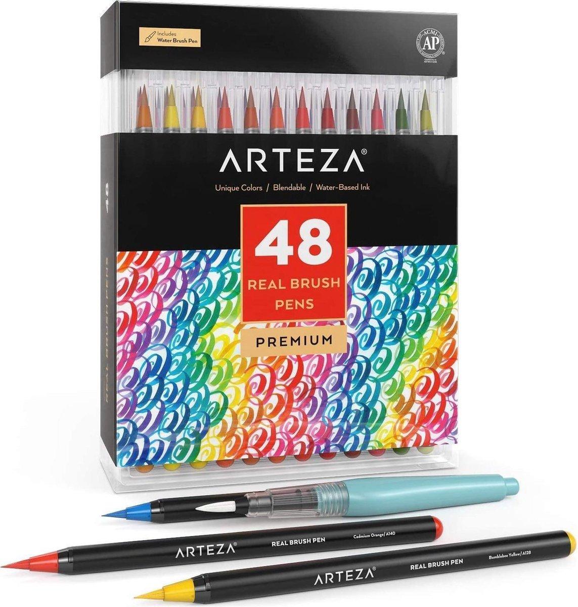 Arteza® Premium Penseelstiften voor kunstenaars - 48 kleuren - Waterverven en schilderen - met flexibele nylon penseelpunt - Markeerstiften om te kleuren - Arteza kleurpotloden - Inclusief water brush pen