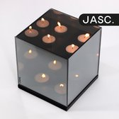 JASC® Waxinelichthouder Spiegelglas met Infinity Effect - Theelichthouder - Rookglas - Kaarsenhouder - 15x15x16