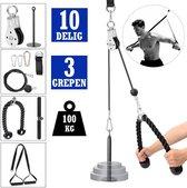 10-delig PRO thuis fitness kabelsysteem 3 handgrepen tot 100 kg - kabel katrol systeem - kabelstation - lat pulley - home gym - krachtstation