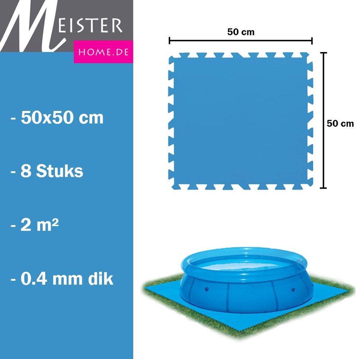 Meisterhome® Zwembad tegels - Set van 8 stuks - 50x50 cm - 2 m² - Bodem bescherming - Ondertegels - Ondervloer - Ondergrond - Foam tegels - Matten - Puzzelmat voor zwembad - Zwembadtegels