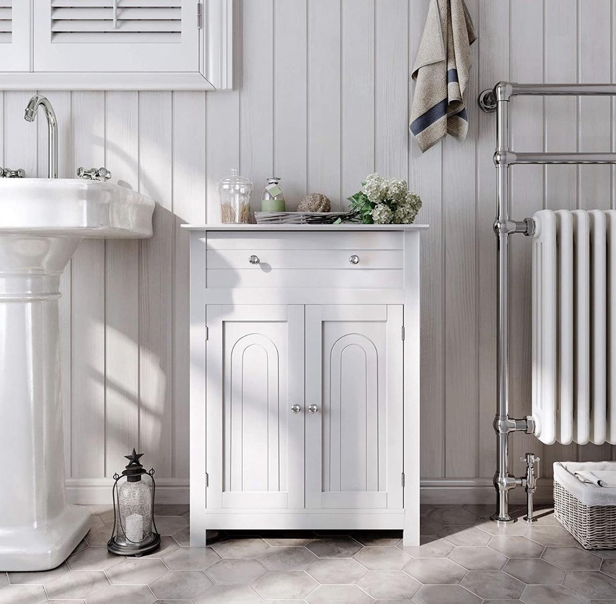 VASAGLE badkamermeubel, badkamermeubel met lade en verstelbare plank, landelijke keukenkast, houten opbergkast, wit, 60 x 80 x 30 cm (B x H x D), BBC61WT