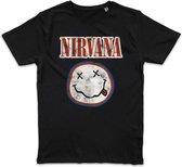Nirvana Unisex T-shirt - Vintage Smiley Face Logo - Extra Large