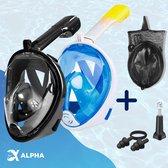 Alpha Snorkelmasker/Duikmasker Volwassenen S/M - Full Face - Zwart