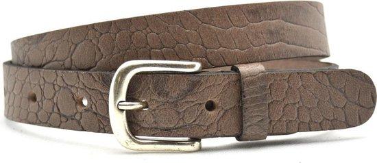 Unleaded 3cm riem – jeansriem – taupe – kroko print – 100% nerfleder – maat 105 totale lengte 120cm