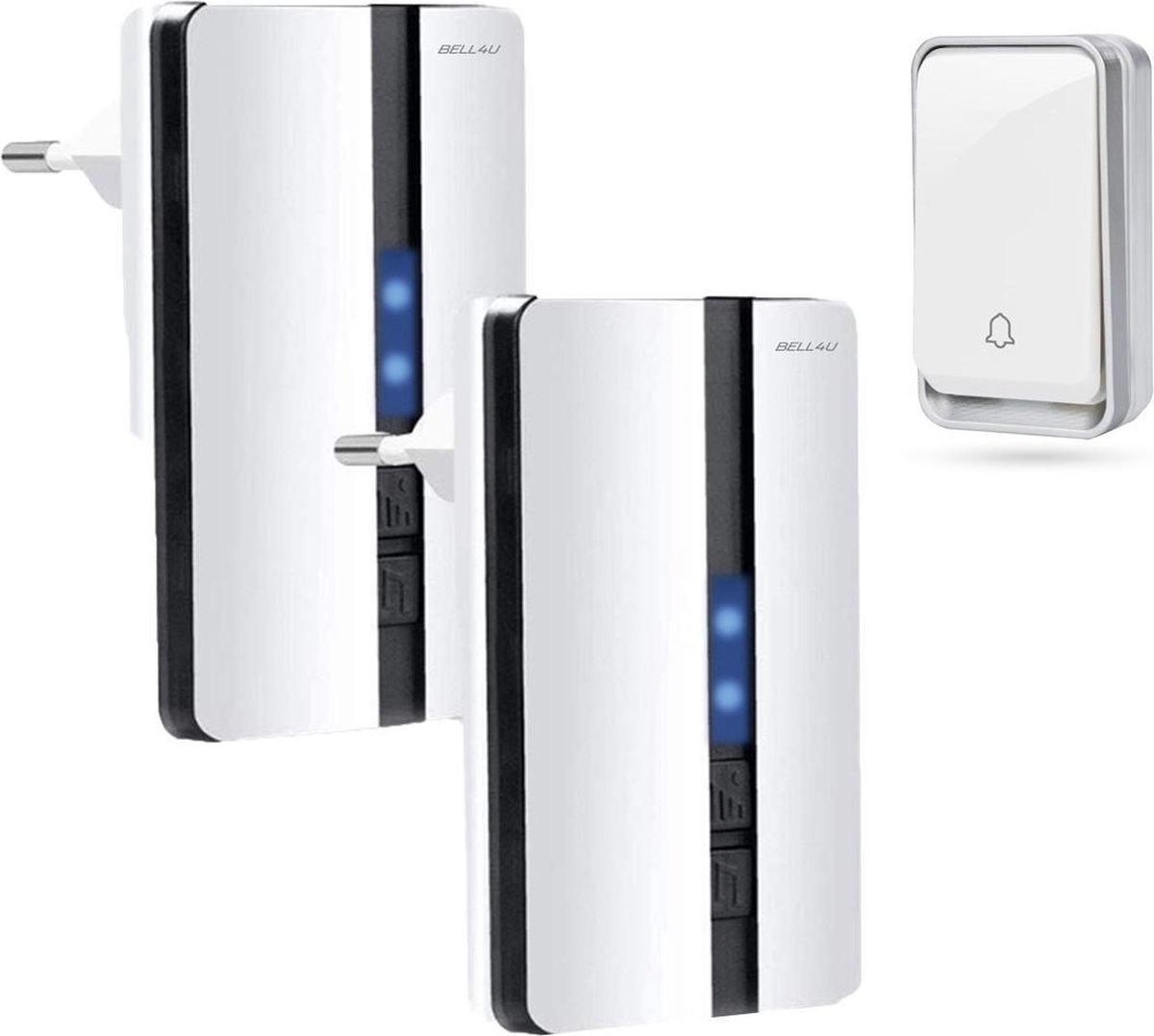 Bell4U® Luxe draadloze deurbel, waarbij batterijen niet nodig zijn - plug & play - 2 ontvangers - Wi