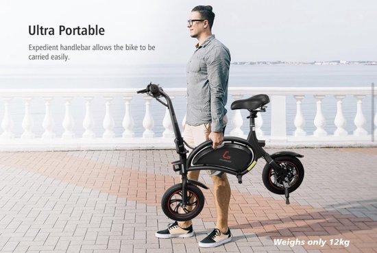 Matrix E Bike B1- Mini-scooter Elektrische vouwfiets - Zwart - 25 km per uur - APP IOS Android - Incl. Stuurtasje