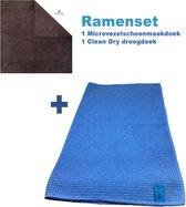 Ramenset raamdoeken microvezel glasdoeken droogdoek ramen Clean Dry Blauw/Grijs
